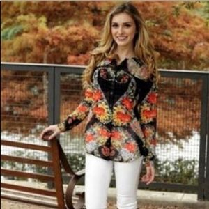 Cabi 🌿3072 Amour Sheer Floral Button Down Blouse
